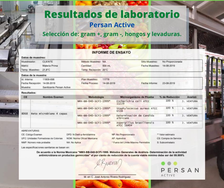 acido peracetico resultados laboratorio microorganismos gram+ gram- hongos, levaduras